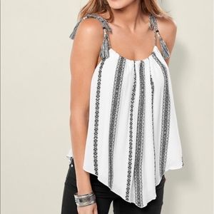Venus black and white boho tie top